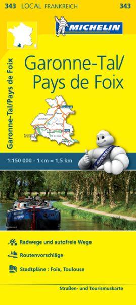 Michelin local 343 Garonne-Tal, Pays de Foix Straßenkarte 1:150.000