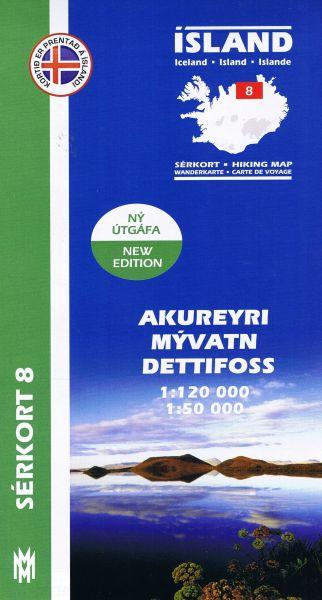 Sérkort 8: Akureyri, Myvatn, Dettifoss - Island Wanderkarte 1:120.000 / 1:50.000