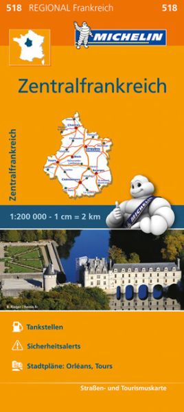 Michelin regional 518 Zentralfrankreich Straßenkarte 1:200.000