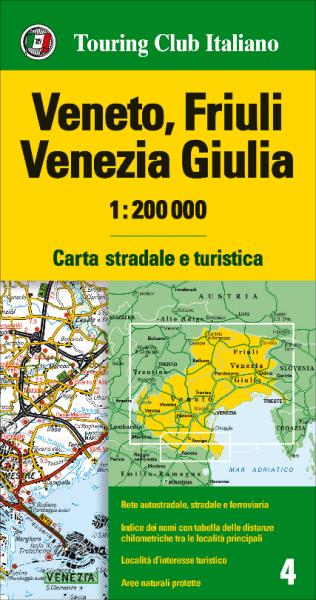 Venetien, Friaul, Julisch-Venetien Straßenkarte, TCI 4, 1:200.000