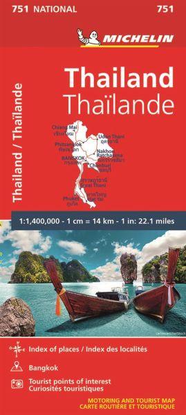 Michelin 751 Thailand; Ortsverzeichnis, Stadtplan von Bangkok, Touristische Orte. 1:1.370.000