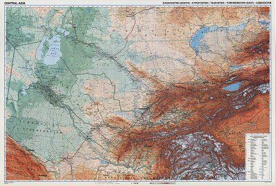GIZI Länderkarte Zentralasien, Posterkarte 122 cm x 82 cm