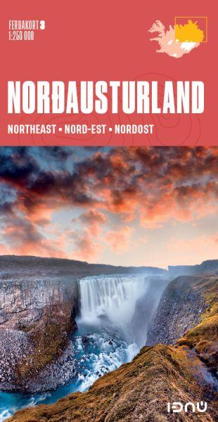 Ferdakort 3: Island Nordost, Nordausturland, topographische Straßenkarte 1:250.000