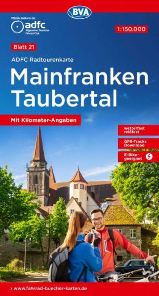 ADFC Radtourenkarte 21, Mainfranken - Taubertal Radwanderkarte 1:150.000