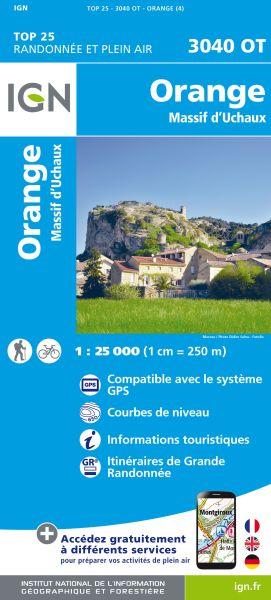 IGN 3040 OT Orange, Massif d'Uchaux, Frankreich Wanderkarte 1:25.000