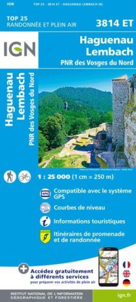 IGN 3814 ET Haguenau - Wissembourg, Frankreich topographische Wanderkarte 1:25.000