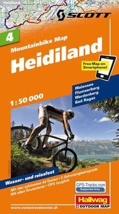Hallwag Mountainbike Map Bl.4, Heidiland, 1:50.000, Wasser- und reißfest
