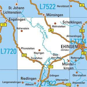 L7722 Munderkingen topographische Karte 1:50.000 Baden-Württemberg, TK50