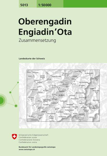 5013 Oberengadin - Engiadin'Ota topographische Wanderkarte Schweiz 1:50.000
