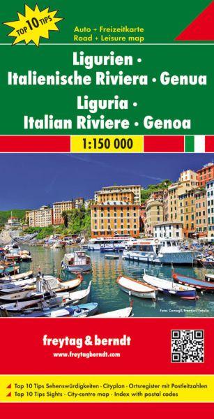 Ligurien - Italienische Riviera Straßenkarte 1:150.000, Freytag und Berndt
