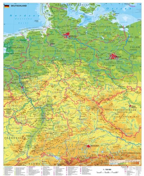 Deutschland physisch großes Poster Stiefel Verlag 97x119 cm
