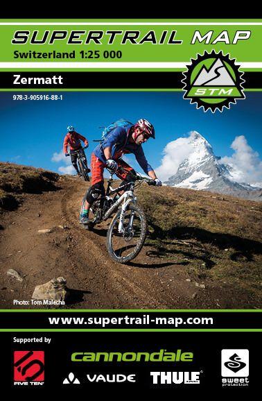 Supertrail Map Zermatt MTB-Karte, 1:25.000, Wasserfest (STM)