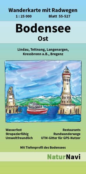 Bodensee Ost 1:25.000 Wanderkarte mit Radwegen – NaturNavi Bl. 55-527
