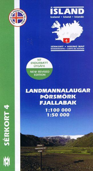 Sérkort 4: Landmannalaugar, Porsmörk, Fjallabak - Island Wanderkarte 1:100.000 / 1:50.000