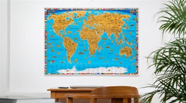 Kinderweltkarte zum Rubbeln mit Metallleisten, Poster, 100cm x 70cm, GeoCenter