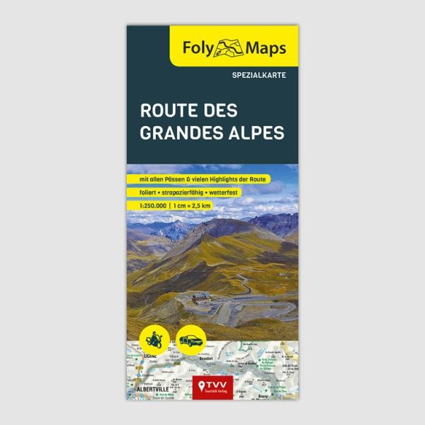 Motorradkarte Route des Grandes Alpes, 1:250.000, FolyMaps