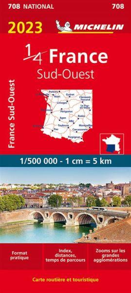 Michelin 708 Frankreich Südwest Straßenkarte 1:500.000