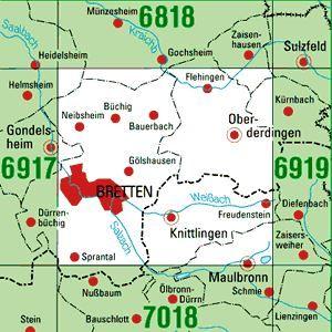 6918 BRETTEN topographische Karte 1:25.000 Baden-Württemberg, TK25
