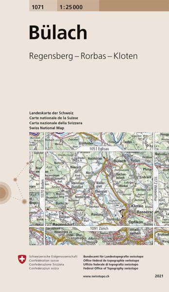 1071 Bülach topographische Wanderkarte Schweiz 1:25.000