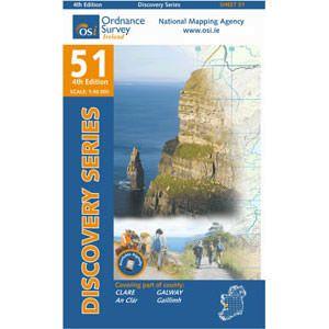 OSI 51 Clare, Galway, Wanderkarte Ordnance, Survey Ireland