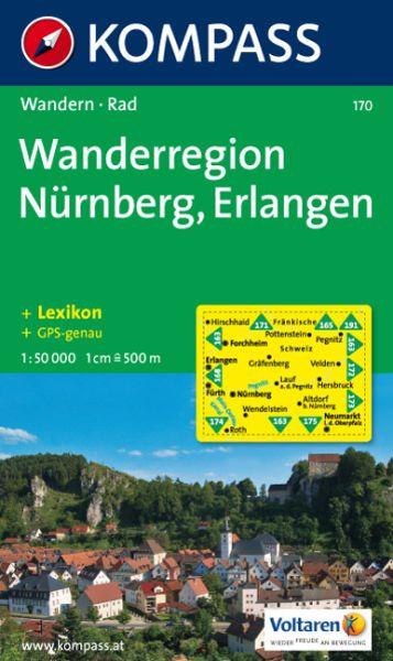 Kompass Karte 170, Nürnberg - Erlangen 1:50.000, Wandern, Rad fahren