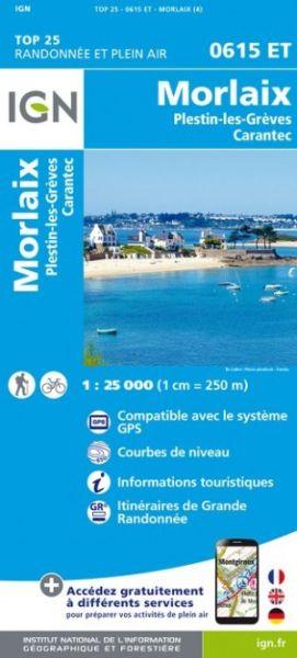 IGN 0615 ET Morlaix, Plestin-les-Grèves, Frankreich Wanderkarte 1:25.000