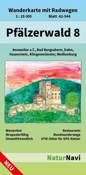 Pfälzerwald Südost Bl. 8 in 1:25.000 Wanderkarte mit Radwegen – NaturNavi Bl. 42-544