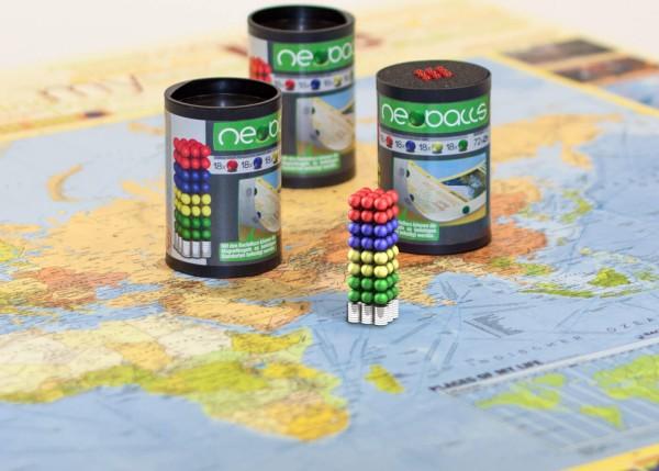 Magnetkugeln/Neoballs verschiedenfarbig mit Unterlegmagneten