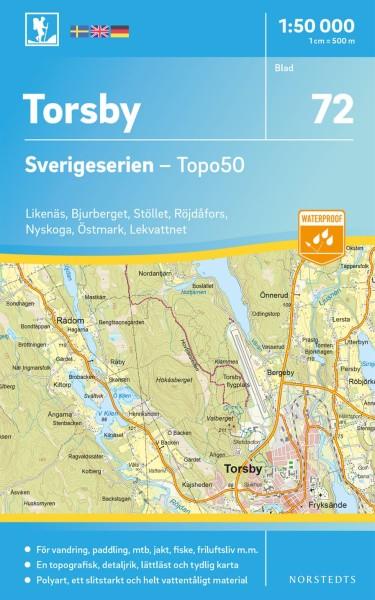 Torsby Wanderkarte 1:50.000, Schweden Topo50 Blatt 72