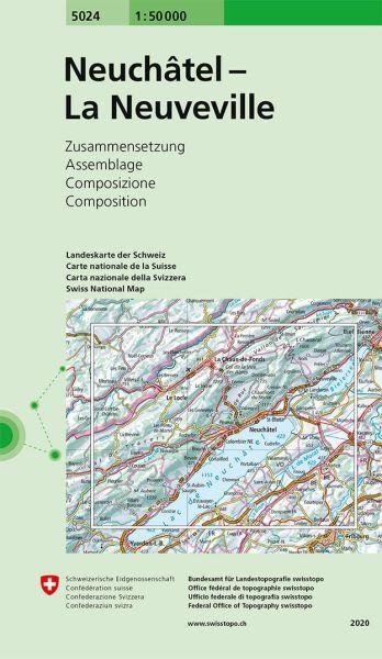 5024 Neuchatel - Les Verrières - La Neuveville topographische Wanderkarte Schweiz 1:50.000