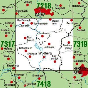 7318 WILDBERG topographische Karte 1:25.000 Baden-Württemberg, TK25