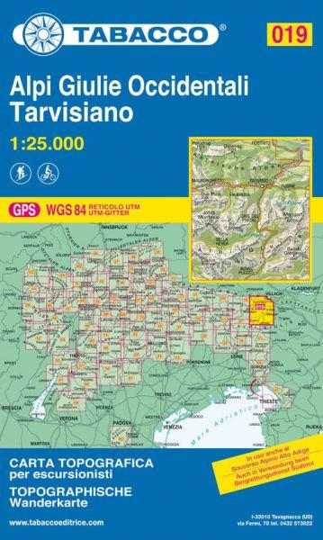 Tabacco 019 Alpi Giulie Occidentali - Tarvisiano Wanderkarte 1:25.000
