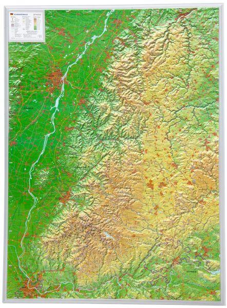 Schwarzwald Relief groß ohne Rahmen – 77 cm x 57 cm