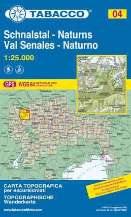Tabacco 04 Schnalstal / Val Senales - Naturns / Naturno Wanderkarte 1:25.000