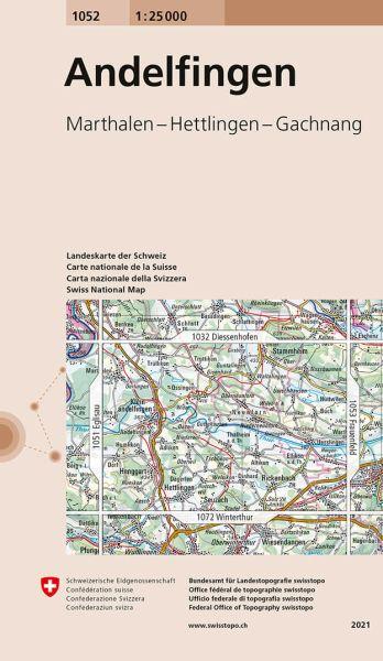 1052 Andelfingen topographische Wanderkarte Schweiz 1:25.000