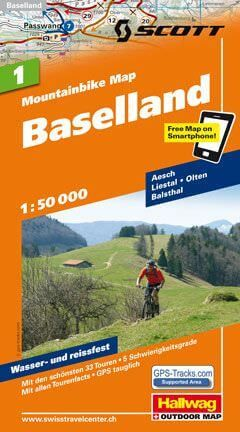Hallwag Mountainbike Map Bl.1, Baselland, 1:50.000, Wasser- und reißfest