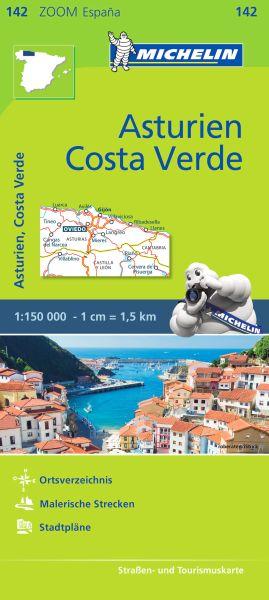 Michelin zoom 142 Asturien, Costa Verde Straßenkarte 1:150.000