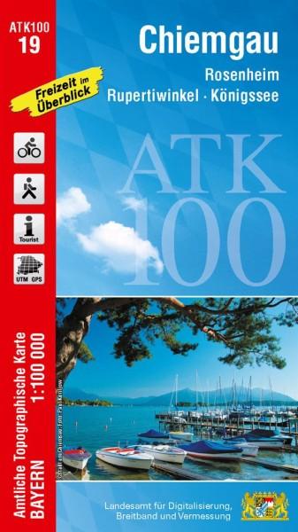 ATK100 Blatt 19 Chiemgau, Freizeitkarte, 1:100.000 amtliche topographische Karte