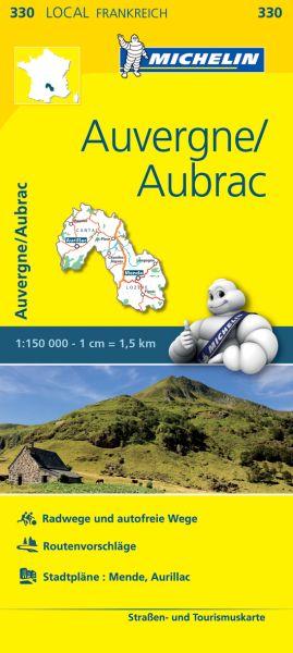 Michelin local 330 Auvergne, Aubrac Straßenkarte 1:150.000