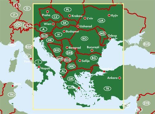 Balkan und Südosteuropa Übersichtskarte mit Fernstraßen 1:2.000.000, Freytag und Berndt