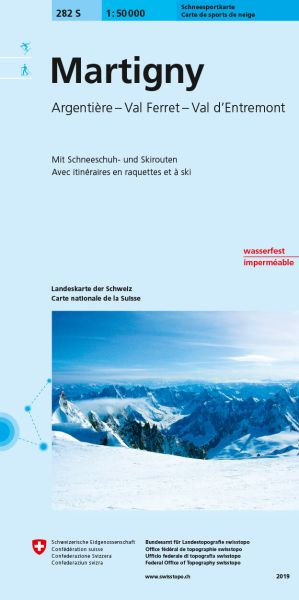 282 S Martigny topographische Skitourenkarte 1:50.000
