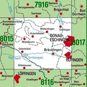 8016 DONAUESCHINGEN topographische Karte 1:25.000 Baden-Württemberg, TK25