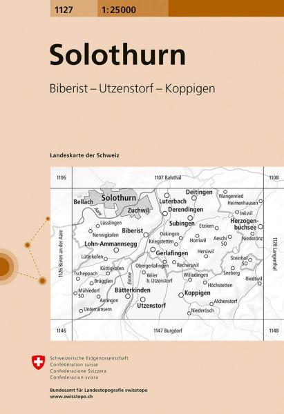 1127 Solothurn topographische Karte Schweiz 1:25.000