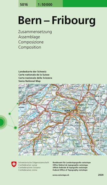 5016 Bern - Fribourg topographische Wanderkarte Schweiz 1:50.000
