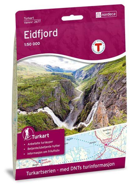 Norwegen topographische Wanderkarte Eidfjord 1:50.000, Turkart 2677