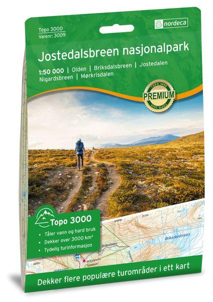 Jostedalsbreen Nasjonalpark topographische Wanderkarte 1:50.000 Bl. 3009 - Nordeca Topo 3000