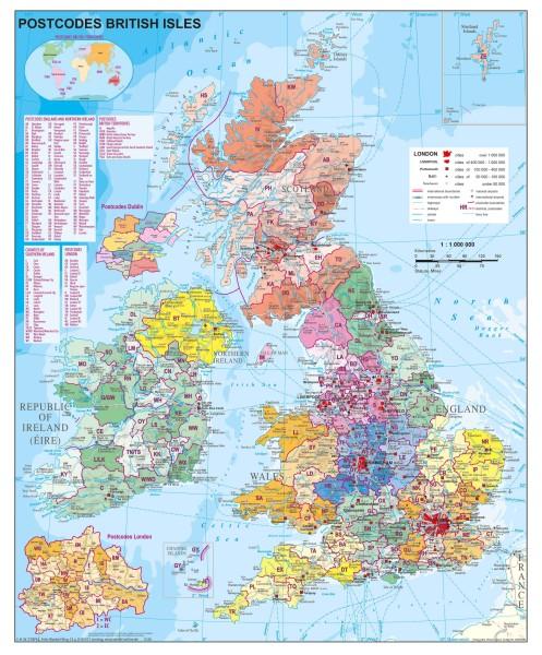 Großbritannien Postleitzahlen groß, Poster, Stiefel Verlag 97x119 cm