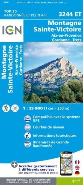 IGN 3244 ET Montagne Ste-Victoire / Aix-en-Provence / Gardanne/Trets, Wanderkarte 1:25.000