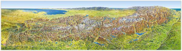 Panorama Karte/Poster Alpen im Sommer von MairDumont 205 cm x 57 cm