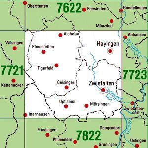 7722 ZWIEFALTEN, Topographische Karte Baden-Württemberg, TK25; 1:25000
